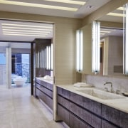 To create the distinctive look on the cabinetry bathroom, ceiling, floor, flooring, interior design, window, gray