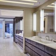 To create the distinctive look on the cabinetry bathroom, ceiling, floor, flooring, interior design, window, gray