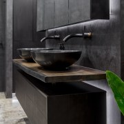 Wood, stone and water  a living edge bathroom, countertop, interior design, plumbing fixture, sink, tap, black, gray
