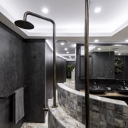 Designer Kim Duffin added a stepped curved shower architecture, interior design, black, gray, white