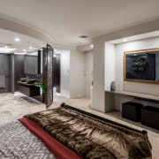 For this penthouse renovation project, the dividing wall ceiling, interior design, living room, real estate, room, gray, black