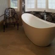 An elegant, functional custom-designed bathroom by Five bathroom, bathtub, ceramic, floor, flooring, hardwood, interior design, laminate flooring, plumbing fixture, tile, wood flooring, brown