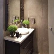 An elegant, functional custom-designed bathroom by Five bathroom, bathroom accessory, bathroom cabinet, cabinetry, countertop, home, interior design, room, sink, black, brown