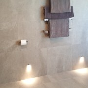 An elegant, functional custom-designed bathroom by Five floor, flooring, lighting, plumbing fixture, tap, tile, wall, gray