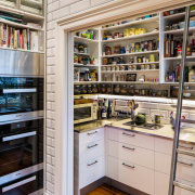 Worlds within worlds  this kitchen renovation by pantry, shelf, shelving, gray