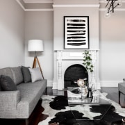 Traditional detailing was retained in the existing section ceiling, floor, furniture, home, interior design, living room, room, table, wall, window, wood, gray