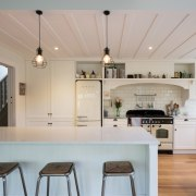 The hearth-like joinery at the rear of this ceiling, countertop, cuisine classique, home, interior design, kitchen, room, gray