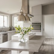 This generous-sized family kitchen by architect Mona Quinn countertop, cuisine classique, floor, home, interior design, kitchen, room, gray