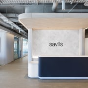 The reception at the new Savills Sydney offices architecture, ceiling, floor, furniture, interior design, product design, table, gray