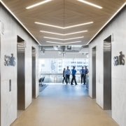 Broad corridors and feature wood drop ceilings are ceiling, daylighting, floor, flooring, white, brown