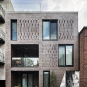New brick cladding on La Géode merges with architecture, building, elevation, facade, home, house, neighbourhood, property, real estate, residential area, siding, window, gray, white