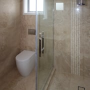 Top quality Italian travertine stone from Casa Italiana bathroom, floor, flooring, glass, plumbing fixture, room, shower, tile, wall, gray, brown