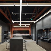 At Supplyframe DesignLab, the kitchen with its additional ceiling, interior design, black