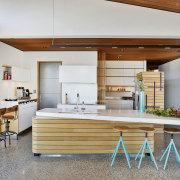 Designer Melanie Craig worked with the existing elements architecture, countertop, house, interior design, kitchen, white Kitchen, Melanie Craig, Corian benchtop, Eliska Lewis Architect