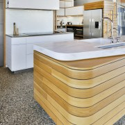The combination of narrow Corian top and protruding countertop, Benchtop, Corian, floor, hardwood, kitchen, wood, Melanie Craig Design