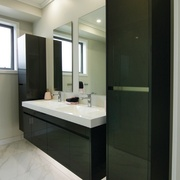 Crisp and contemporary, this bathroom forms part of bathroom, bathroom accessory, room, black, gray