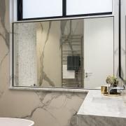 Statuario Florim oversized panels give this bathroom the architecture, floor, flooring, glass, interior design, window, gray