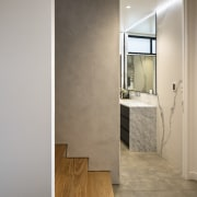 This spa-like bathroom designed by Matter Architects forms architecture, bathroom, ceiling, floor, flooring, home, house, interior design, laminate flooring, tile, wall, wood flooring, gray, brown
