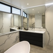 This bathroom combines modern function with a classic bathroom, interior design, real estate, room, gray