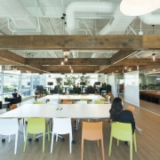 A macrocarpa pergola in the Z Energy fit-out ceiling, daylighting, institution, interior design, office, white, brown