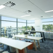 The Z Energy office fit-out by Stack Interiors architecture, ceiling, daylighting, furniture, interior design, office, real estate, table, white