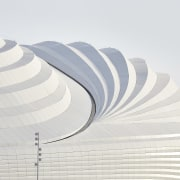 Given the new stadium's context within the coastal architecture, ceiling, line, white, white, stadium