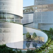 iCarbonX's central public space is partially embedded in architecture, building, city, commercial building, condominium, corporate headquarters, facade, glass, headquarters, house, landscape, mixed-use, property, real estate, reflecting pool, reflection, tower block, urban design, water, gray