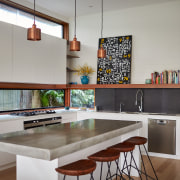 Clerestory windows bring more light into the space countertop, interior design, kitchen, real estate, room, table, gray