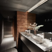 Even the bathrooms have a strong sculptural edge black