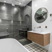 The bathroom has a modern look – thanks