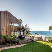 The wood cladding is balanced with a second,