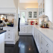 Traditional features include the hardware and butler's sink. cabinetry, countertop, cuisine classique, floor, flooring, hardwood, home, interior design, kitchen, room, gray