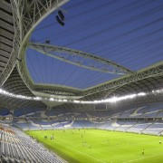 The stadium by night. - Dramatic new stadium's architecture, arena, atmosphere, goal, grass, sky, soccer-specific stadium, sport venue, stadium, blue
