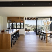 The entertainer's kitchen enjoys external views in all