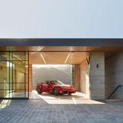 The show garage doubles as an open-air yoga
