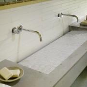 Commanding perspective - bathroom sink | countertop | bathroom sink, countertop, floor, plumbing fixture, sink, tap, tile, gray