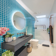 The beautiful pool tiling finds an echo in