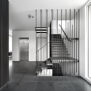 Steel rods create a decorative framework for these architecture, black and white, daylighting, handrail, home, house, interior design, monochrome, monochrome photography, stairs, structure, white, black