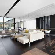 This battens screen folds over to form a architecture, ceiling, floor, flooring, house, interior design, living room, white, black