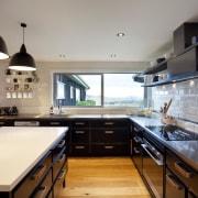 For the renovation of this farmhouse kitchen, designer countertop, interior design, kitchen, real estate, gray