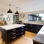 The existing kitchen in this 80-year-old farmhouse was countertop, cuisine classique, interior design, kitchen, property, real estate, room, gray