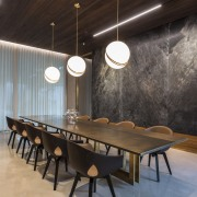 Nothing is done by halves in this home, architecture, building, ceiling, design, dining room, floor, flooring, furniture, house, interior design, light fixture, lighting, restaurant, room, table, black, gray