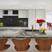 The generous island, spacious layout and breakfast seating