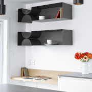 Matt lacquer cabinetry is easy wipe down, and furniture, interior design, shelf, shelving, tap, wall, white, gray