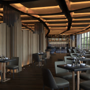Guests at the Art Hotel in Huangshan can architecture, building, hotel, China, ceiling, furniture, interior design, property, real estate, restaurant, room, black