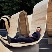 Designer Paul Cocksedge picks his own spot to architecture, furniture, leisure, sitting, tree, wood, black, gray