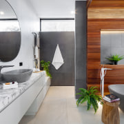 Spotted Gum timber was introduced as a feature architecture, bathroom, building, ceiling, ceramic, countertop, floor, flooring, furniture, home, house, interior design, loft, marble, plumbing fixture, property, real estate, room, sink, tap, tile, gray, white