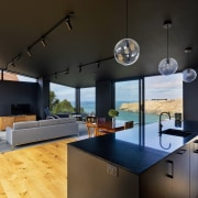 The interior is predominantly black to create a
