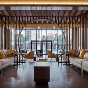 The lobby lounge offers comfortable seating and architectural