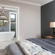 Material rich – the two-tone master bedroom is